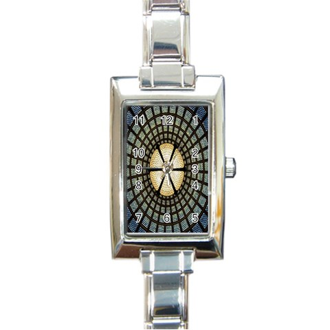 Stained Glass Colorful Glass Rectangle Italian Charm Watch