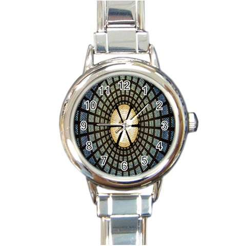 Stained Glass Colorful Glass Round Italian Charm Watch