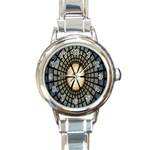 Stained Glass Colorful Glass Round Italian Charm Watch Front