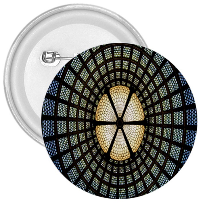 Stained Glass Colorful Glass 3  Buttons