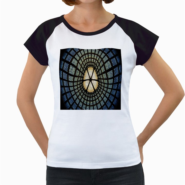Stained Glass Colorful Glass Women s Cap Sleeve T