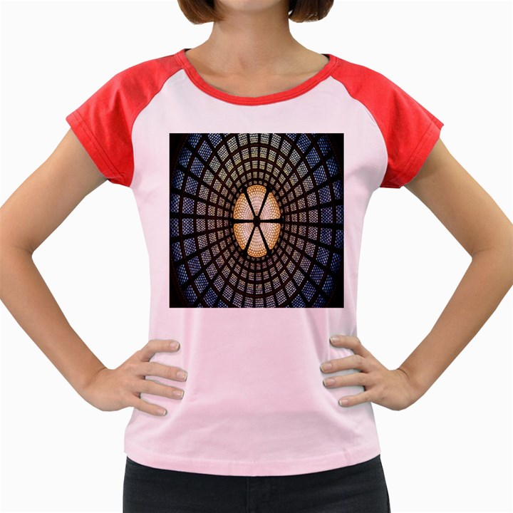 Stained Glass Colorful Glass Women s Cap Sleeve T-Shirt