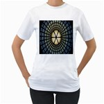 Stained Glass Colorful Glass Women s T-Shirt (White) (Two Sided) Front