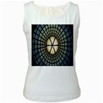 Stained Glass Colorful Glass Women s White Tank Top Front
