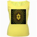 Stained Glass Colorful Glass Women s Yellow Tank Top Front