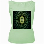 Stained Glass Colorful Glass Women s Green Tank Top Front