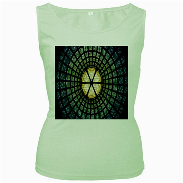 Stained Glass Colorful Glass Women s Green Tank Top
