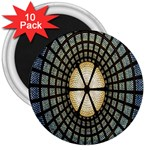 Stained Glass Colorful Glass 3  Magnets (10 pack)  Front