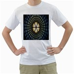 Stained Glass Colorful Glass Men s T-Shirt (White) (Two Sided) Front