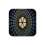 Stained Glass Colorful Glass Rubber Square Coaster (4 pack)  Front