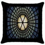 Stained Glass Colorful Glass Throw Pillow Case (Black) Front