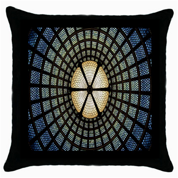 Stained Glass Colorful Glass Throw Pillow Case (Black)