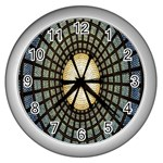 Stained Glass Colorful Glass Wall Clocks (Silver)  Front