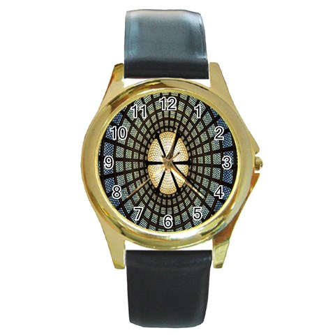 Stained Glass Colorful Glass Round Gold Metal Watch