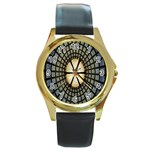 Stained Glass Colorful Glass Round Gold Metal Watch Front