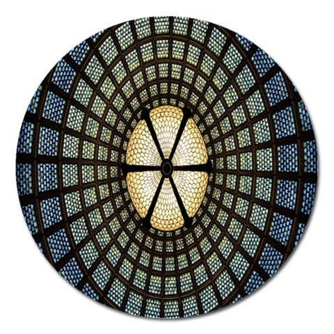 Stained Glass Colorful Glass Magnet 5  (Round)