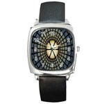 Stained Glass Colorful Glass Square Metal Watch Front