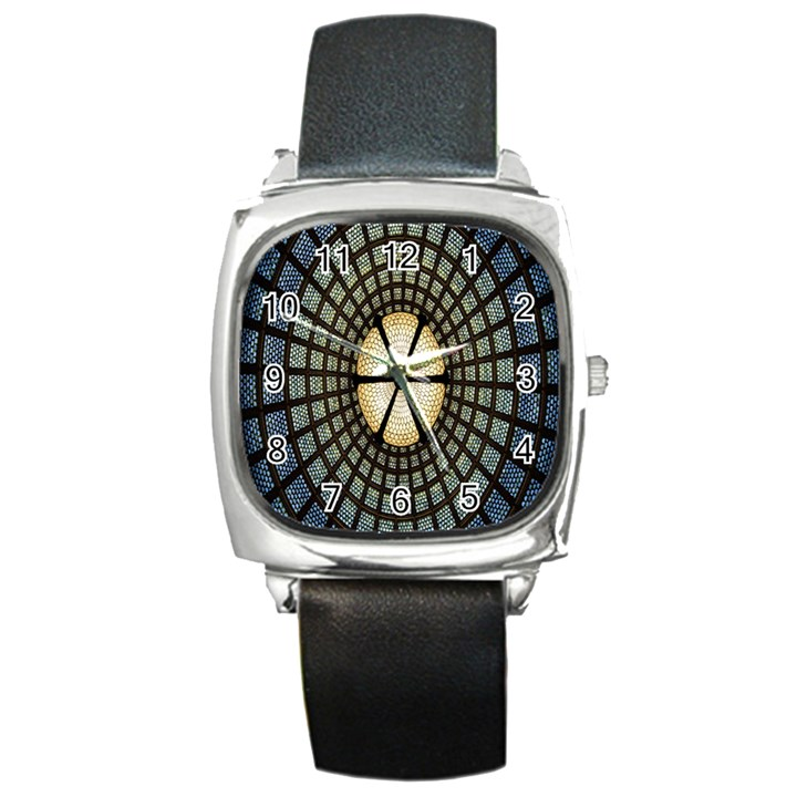 Stained Glass Colorful Glass Square Metal Watch