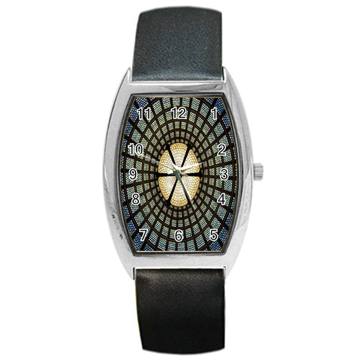 Stained Glass Colorful Glass Barrel Style Metal Watch
