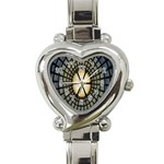 Stained Glass Colorful Glass Heart Italian Charm Watch Front