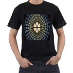 Stained Glass Colorful Glass Men s T-Shirt (Black) (Two Sided) Front
