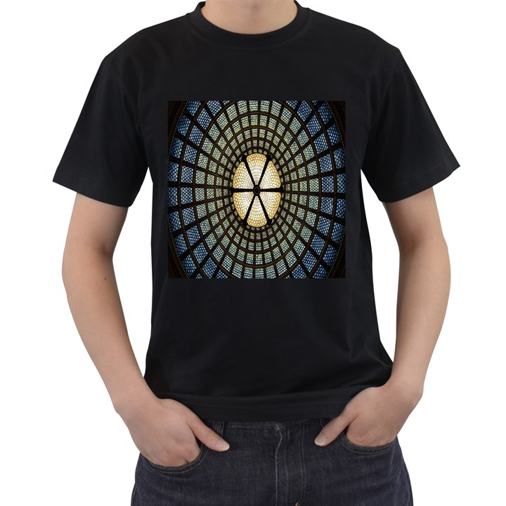Stained Glass Colorful Glass Men s T-Shirt (Black) (Two Sided)