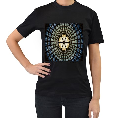 Stained Glass Colorful Glass Women s T-Shirt (Black) (Two Sided)