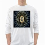 Stained Glass Colorful Glass White Long Sleeve T-Shirts Front