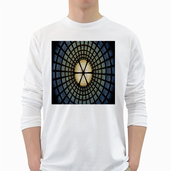 Stained Glass Colorful Glass White Long Sleeve T-Shirts