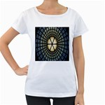 Stained Glass Colorful Glass Women s Loose-Fit T-Shirt (White) Front