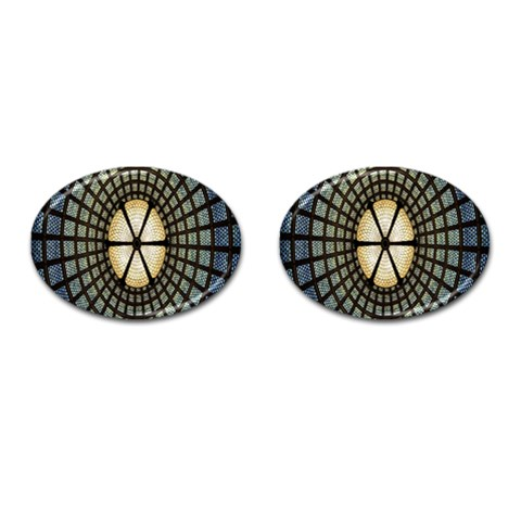 Stained Glass Colorful Glass Cufflinks (Oval)