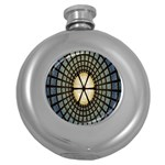 Stained Glass Colorful Glass Round Hip Flask (5 oz) Front