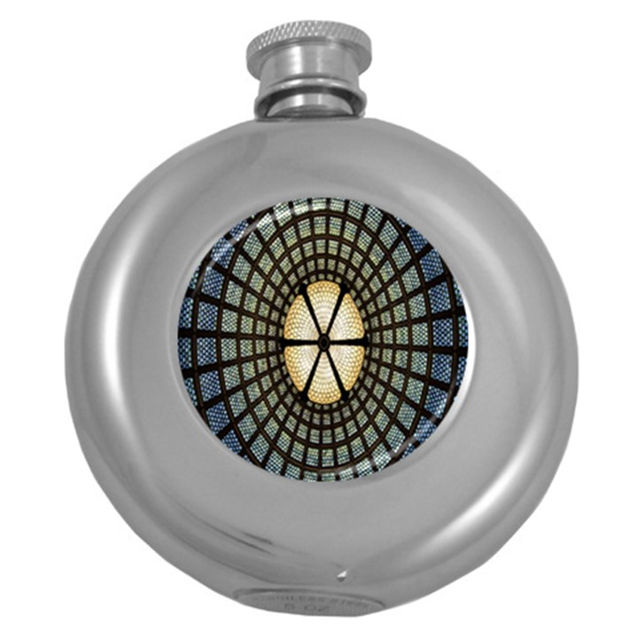 Stained Glass Colorful Glass Round Hip Flask (5 oz)