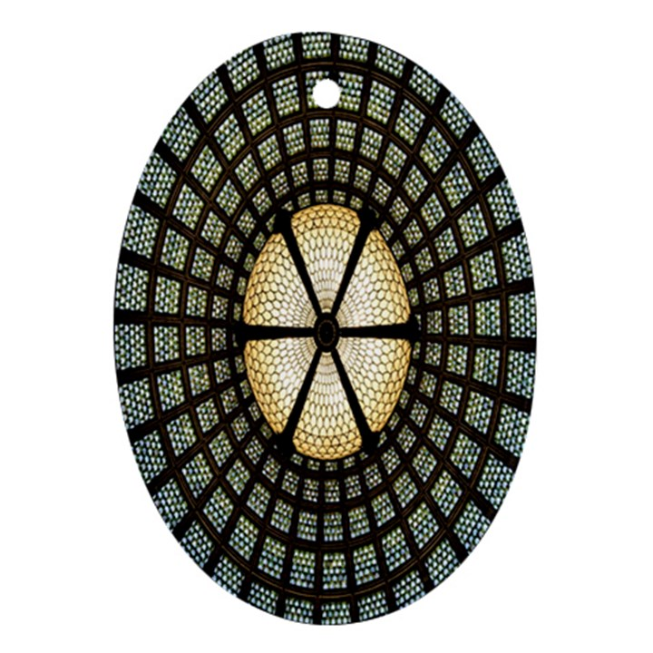 Stained Glass Colorful Glass Oval Ornament (Two Sides)