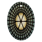 Stained Glass Colorful Glass Oval Ornament (Two Sides) Back