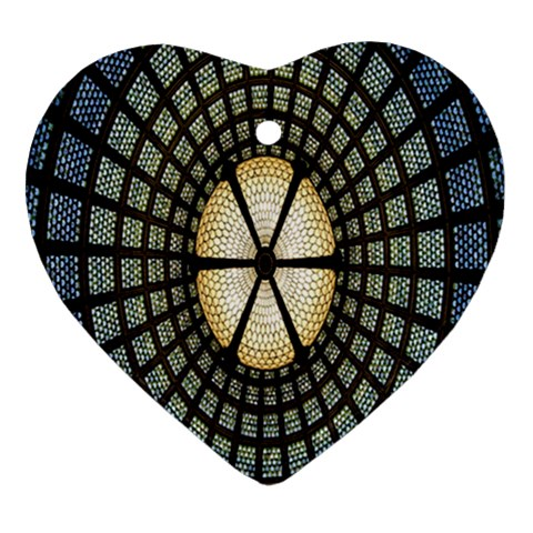 Stained Glass Colorful Glass Heart Ornament (2 Sides)