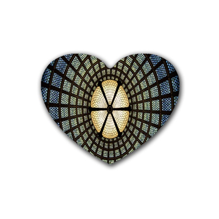 Stained Glass Colorful Glass Rubber Coaster (Heart)