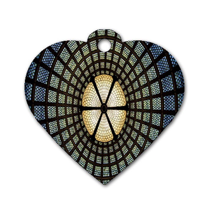 Stained Glass Colorful Glass Dog Tag Heart (One Side)