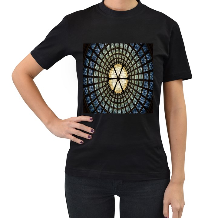 Stained Glass Colorful Glass Women s T-Shirt (Black)