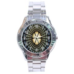 Stained Glass Colorful Glass Stainless Steel Analogue Watch