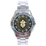 Stained Glass Colorful Glass Stainless Steel Analogue Watch Front