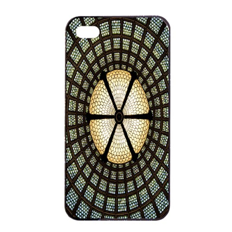 Stained Glass Colorful Glass Apple iPhone 4/4s Seamless Case (Black)