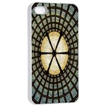 Stained Glass Colorful Glass Apple iPhone 4/4s Seamless Case (White) Front