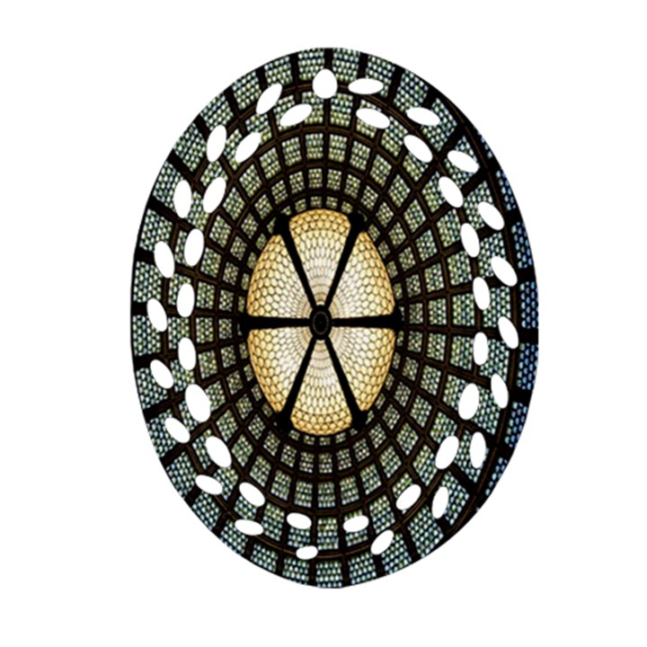 Stained Glass Colorful Glass Ornament (Oval Filigree)