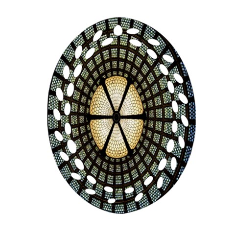 Stained Glass Colorful Glass Oval Filigree Ornament (2-Side)