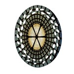 Stained Glass Colorful Glass Oval Filigree Ornament (2-Side)  Front