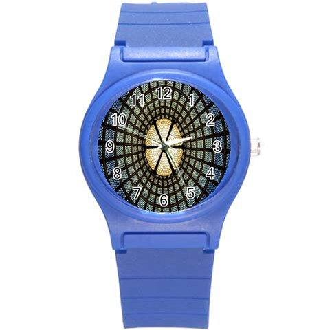 Stained Glass Colorful Glass Round Plastic Sport Watch (S)