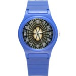 Stained Glass Colorful Glass Round Plastic Sport Watch (S) Front