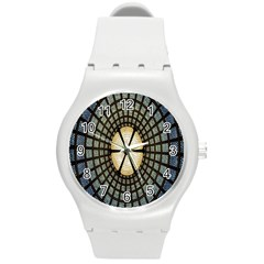 Stained Glass Colorful Glass Round Plastic Sport Watch (M)
