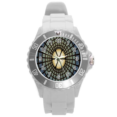 Stained Glass Colorful Glass Round Plastic Sport Watch (L)